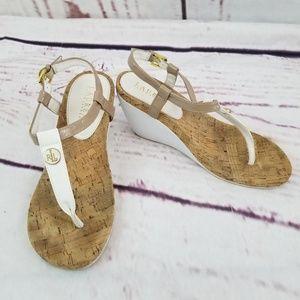 Lauren Ralph Lauren Wedge Sandals Sz 8 White